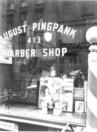 Berenice Abbott - August Pingpank Barber Shop, New York City